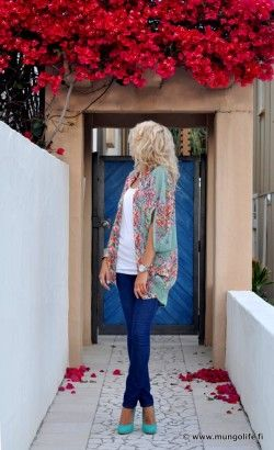 Cardigan and shoes. Fab. : Sweaters, Teal Shoes, Kimonos Cardigans, Clothing, Cute Outfits, Cute Cardigans, Colors Schemes, Turquoise Shoes, The Cardigans