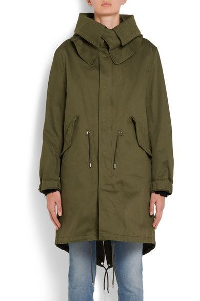 Givenchy - Hooded Printed Cotton-twill Parka - Army green - FR38