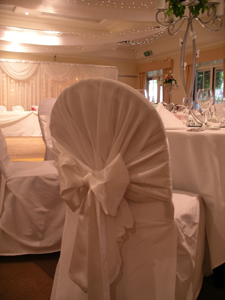 #whiteonwhite #whitewedding #chaircovers #chairsash