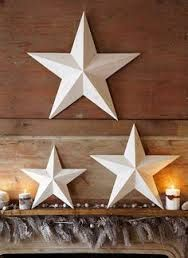 Set of 3 Large Metal Tin Barn Star - Wall Decor