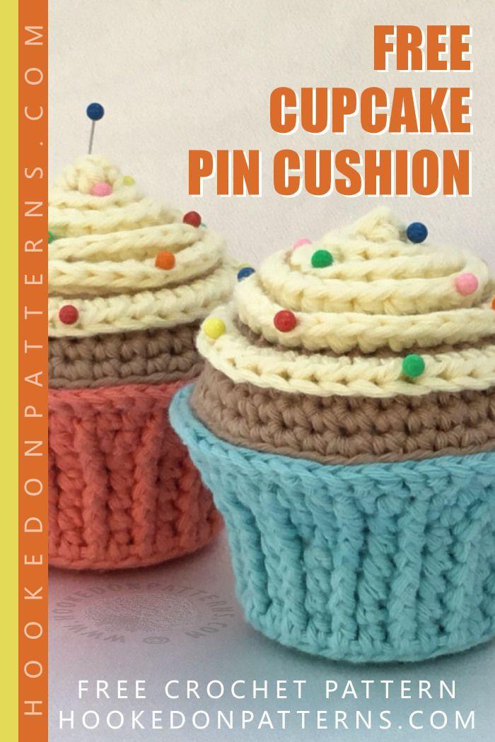 Free Cupcake Pin Cushion Crochet Pattern Crocheting Household