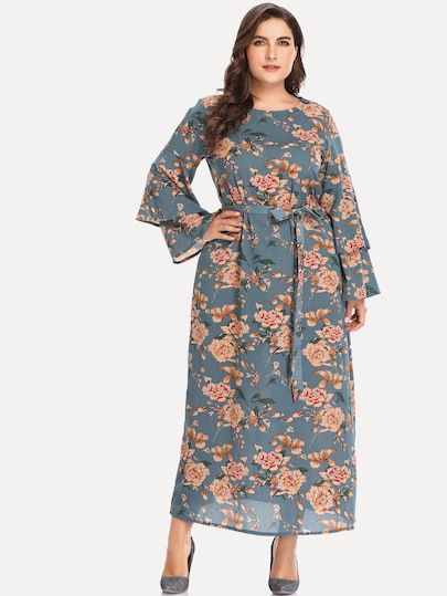 acd7973ef8 Plus Floral Print Self Tie Waist Dress [dress180827248] - $46.00 :  moonbaye.com