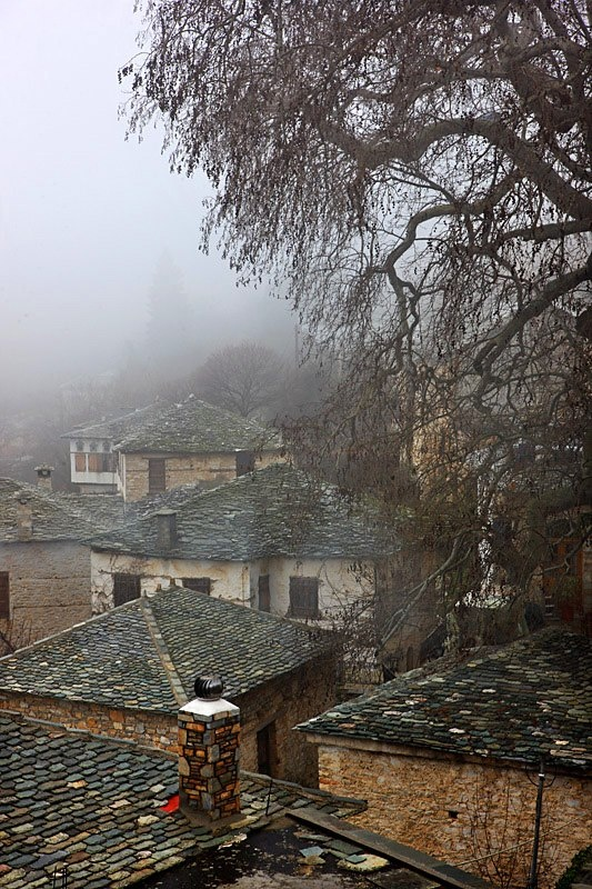 Traditional tile roof houses, in Pinakates village, at  #Pelion #Greece