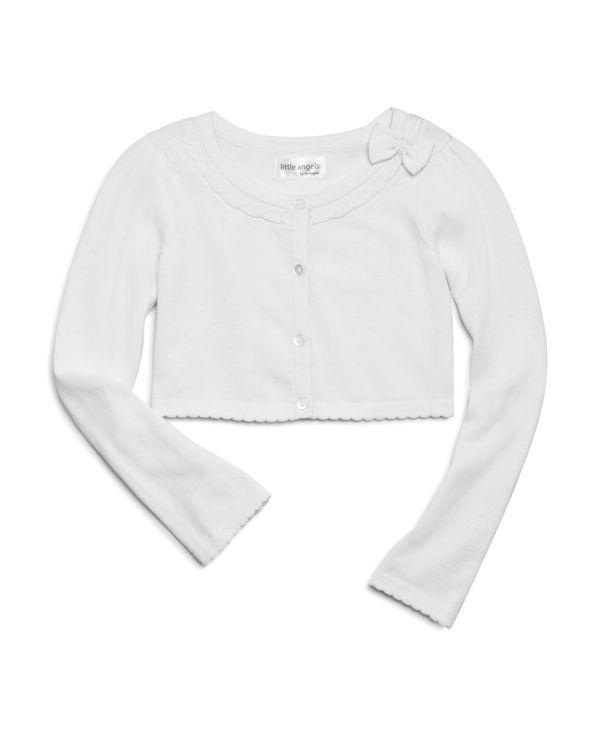 Us Angels Girls' Bow Trimmed Cropped Cardigan Sweater - Sizes 2-6X