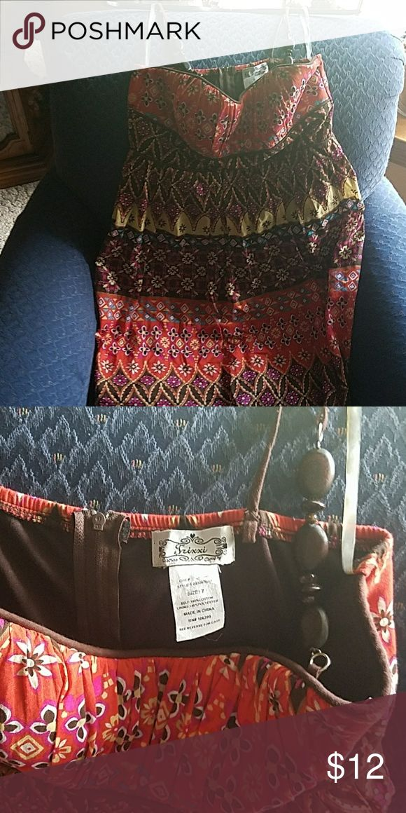 Tricia Aztec print dress Cute Aztec print dress with real wood beads on strap.  Perfect for a bonfire or casual night out Trixxi Dresses Mini