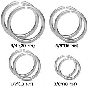 Pair of Cartilage Hoops - 316L Surgical Stainless - 16ga