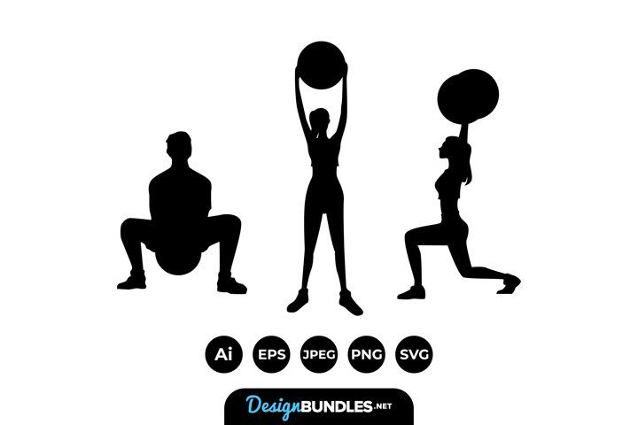 Training Man And Woman Silhouettes Man And Woman Silhouette Woman Silhouette Alphabet Illustration