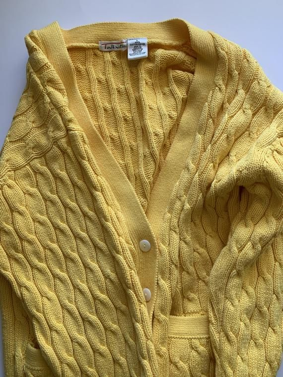 Vintage 90s Yellow Cable Knit Cardigan Sweater By Talbots Cable Knit Sweater Cardigan Knit Sweater Cardigan Cable Knit Cardigan