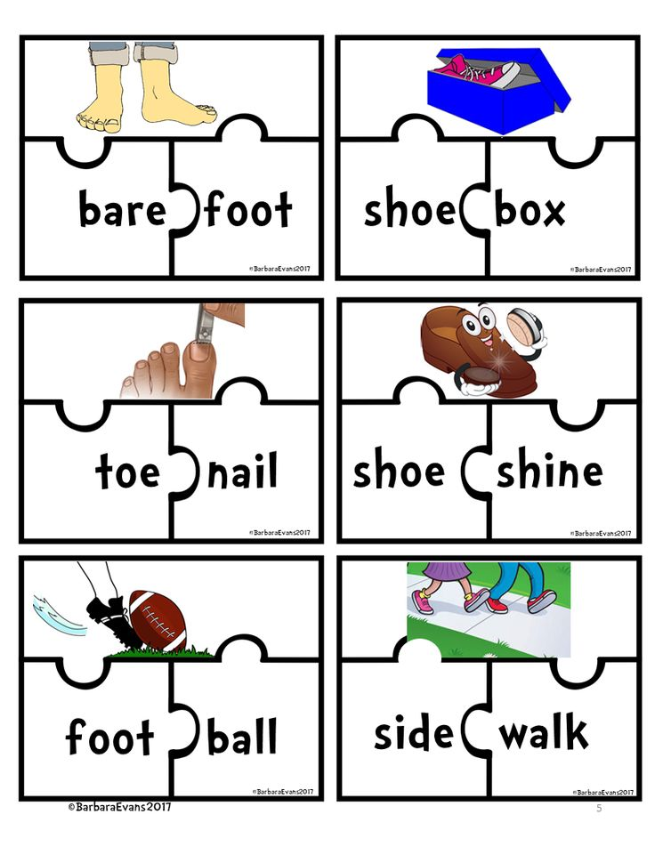 THINK ON YOUR FEET    24 puzzles are in this literacy center about compound words.