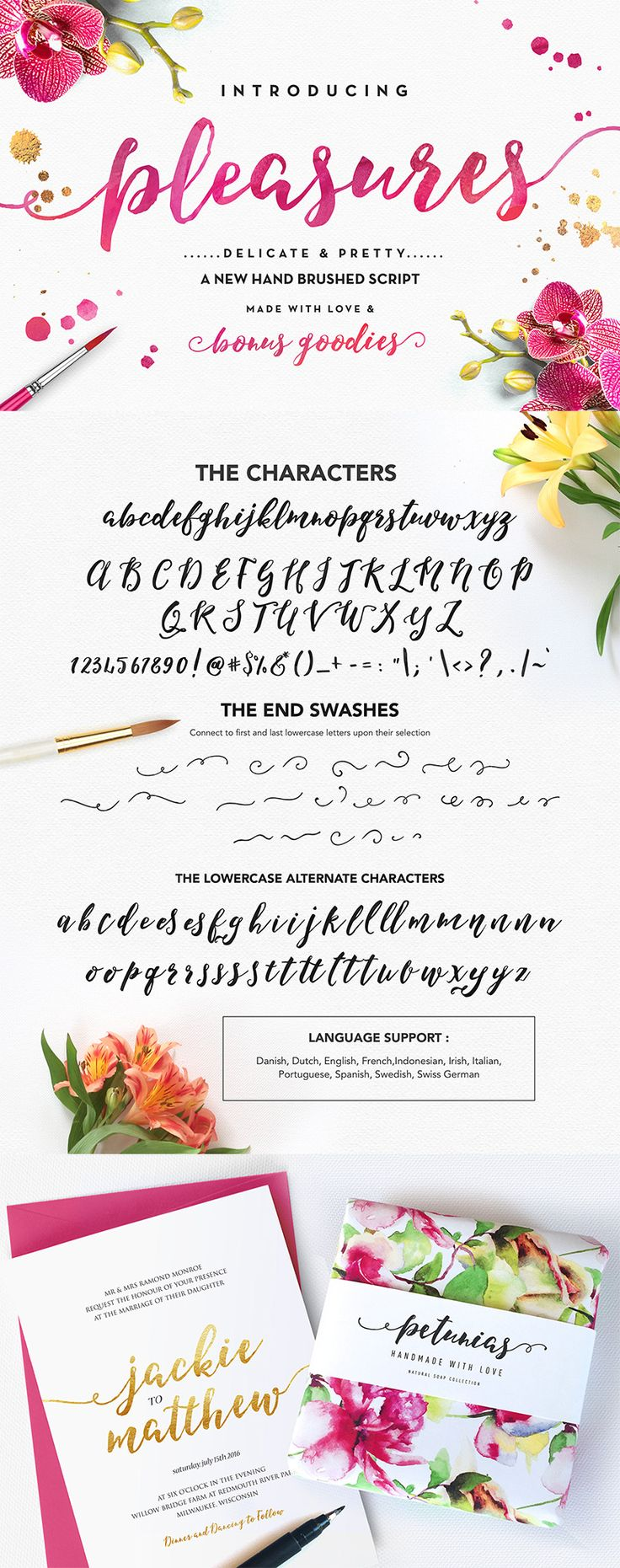 Pleasures Script, a playful-yet-elegant brush hand lettering script font, with oodles of exciting extras! Also comes with some super-handy watercolour and foil extras