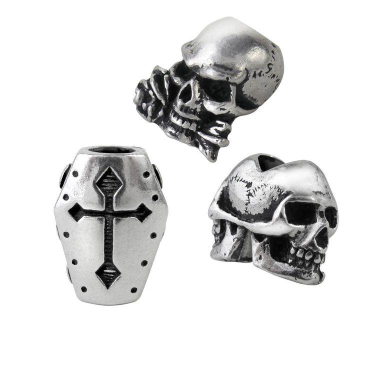 Alchemy Hair Beard Rings Beads SET of 3 Janus Skull Coffin Alchemist Skull. HAIR. BREARD. BEADS. PEWTER.