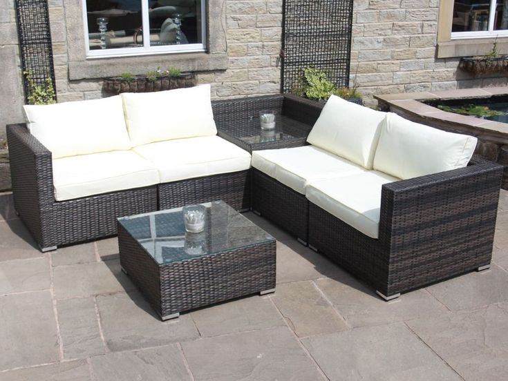 Rattan Outdoor Sofa Set with Corner Table Garden Furniture in Black, Brown, Grey