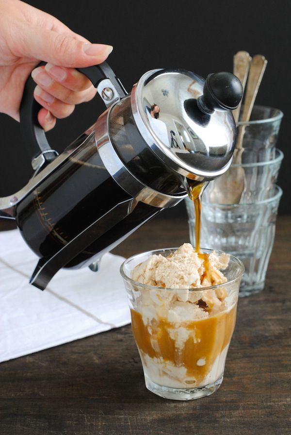 Double Coffee Affogato - Cold and creamy coffee ice cream topped with hot, strong coffee.