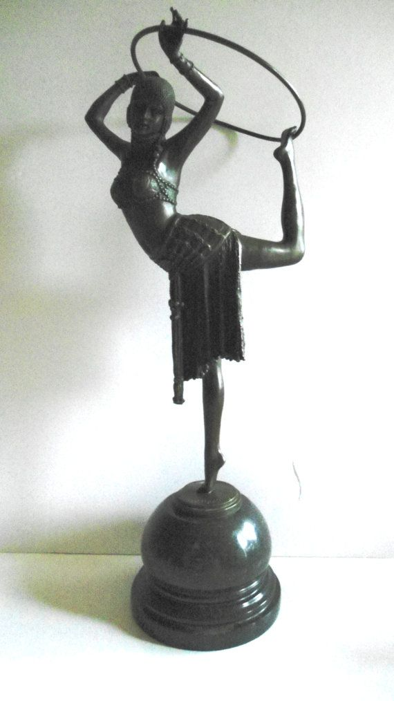 Art Deco Bronze Chiparus Hoop Dancer Figure Signed by Auntiemollys, $290.00