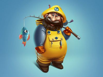 Fisher Cartoon Character #character #cartoon #fisher