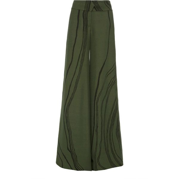 Marina Moscone Relaxed Tuxedo Trousers ($1,490) ❤ liked on Polyvore featuring pants, green, highwaist pants, relaxed pants, wide leg trousers, high-waisted wide leg pants and high waisted wide leg trousers