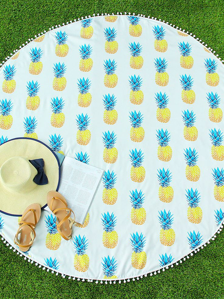 Shop Pineapple Print Pom Pom Trim Round Beach Blanket online. SheIn offers Pineapple Print Pom Pom Trim Round Beach Blanket & more to fit your fashionable needs.