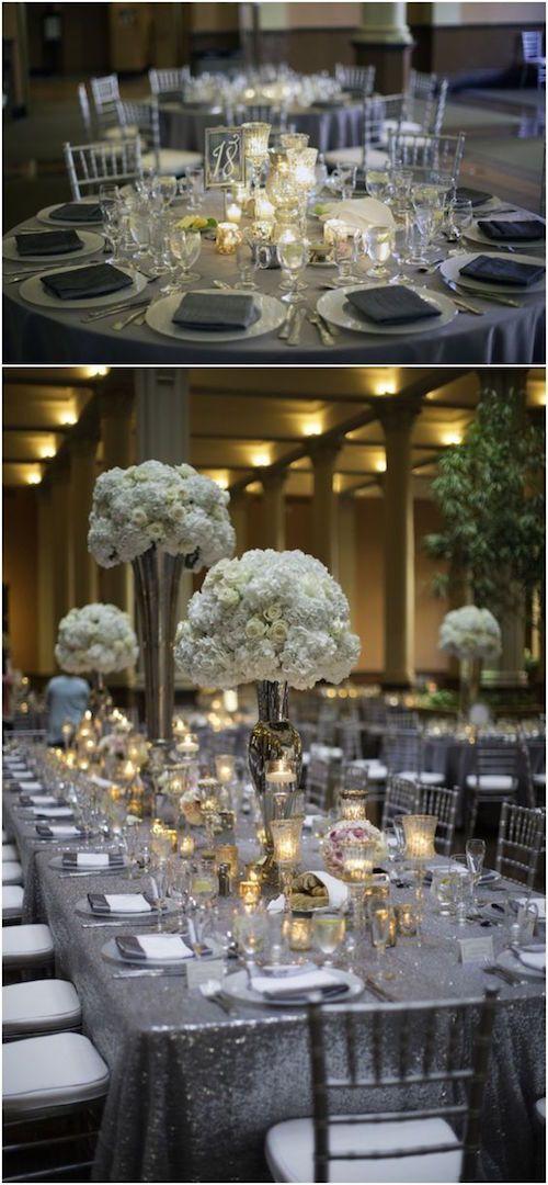 Sencilla y encantadora decoración para bodas en color gris y metalizados. Fotografía: Graddy Photography Minneapolis, MN en el Landmark Center, St. Paul.