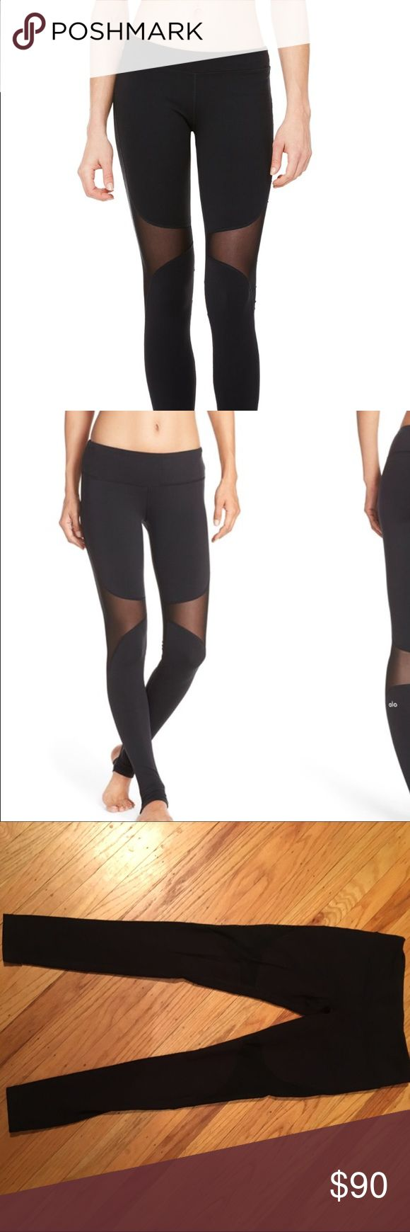 ALO Yoga Coast Legging Medium Coast Legging in black, great condition, no flaws or piling. Beautiful mesh inserts along the legs on both sides and foot stirrup detail as well. Cheaper on Ⓜ️ ALO Yoga Pants Leggings