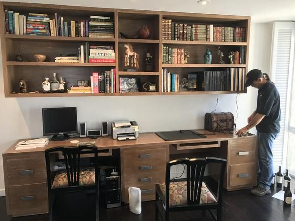 Modern Home Office Desk And Bookcase Custom Partners Desk And Wall