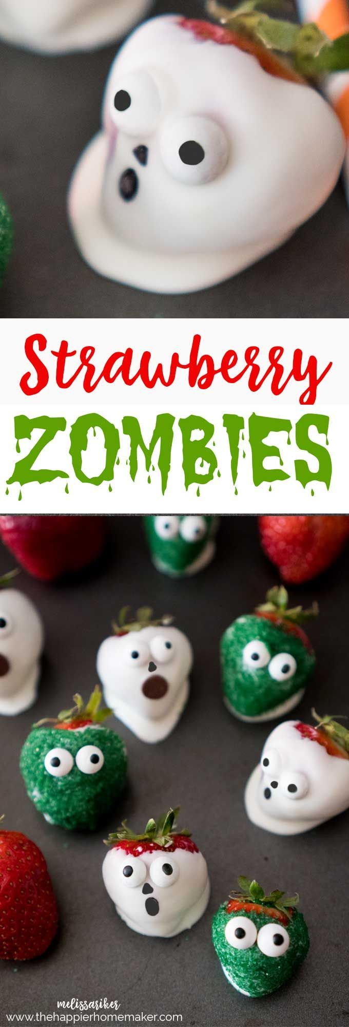Chocolate covered strawberry zombies are an easy and cute kid's party treat!