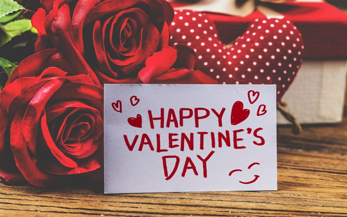 Download wallpapers Happy Valentines Day, congratulation, red roses, romantic bouquet, red flowers