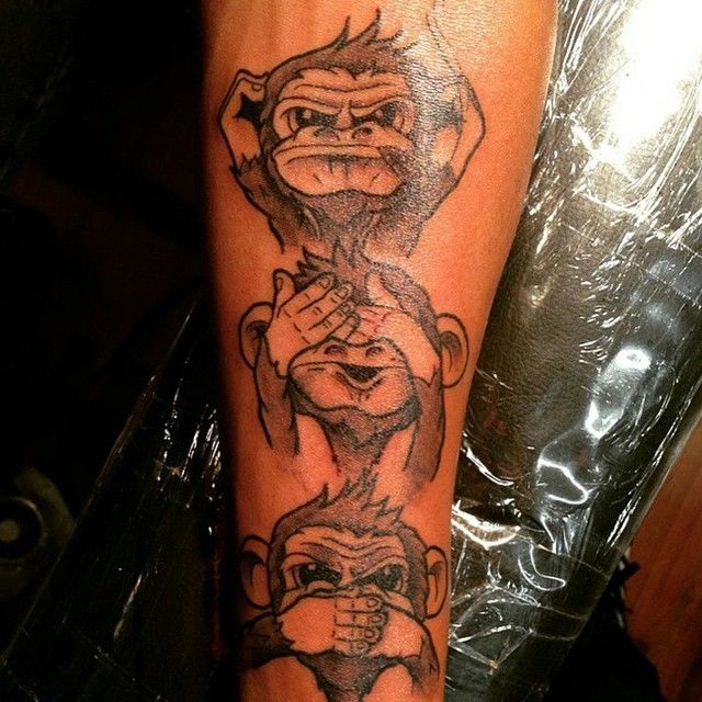 Monkey Heads Representing Hear No Evil See No Evil Speak No Evil Tattoo From TattoosWin.com
