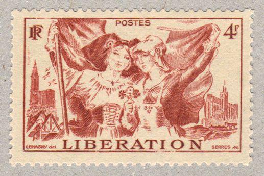 img/France 1945/Timbre de France annee 1945 - 0739 - femmes alsacienne et lorraine en costumes traditionnels pour la liberation de l'Alsace ...