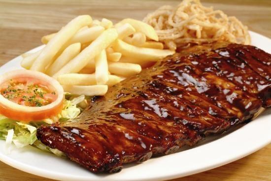 Bbq ribs☆Fried onion-Fries-Salad