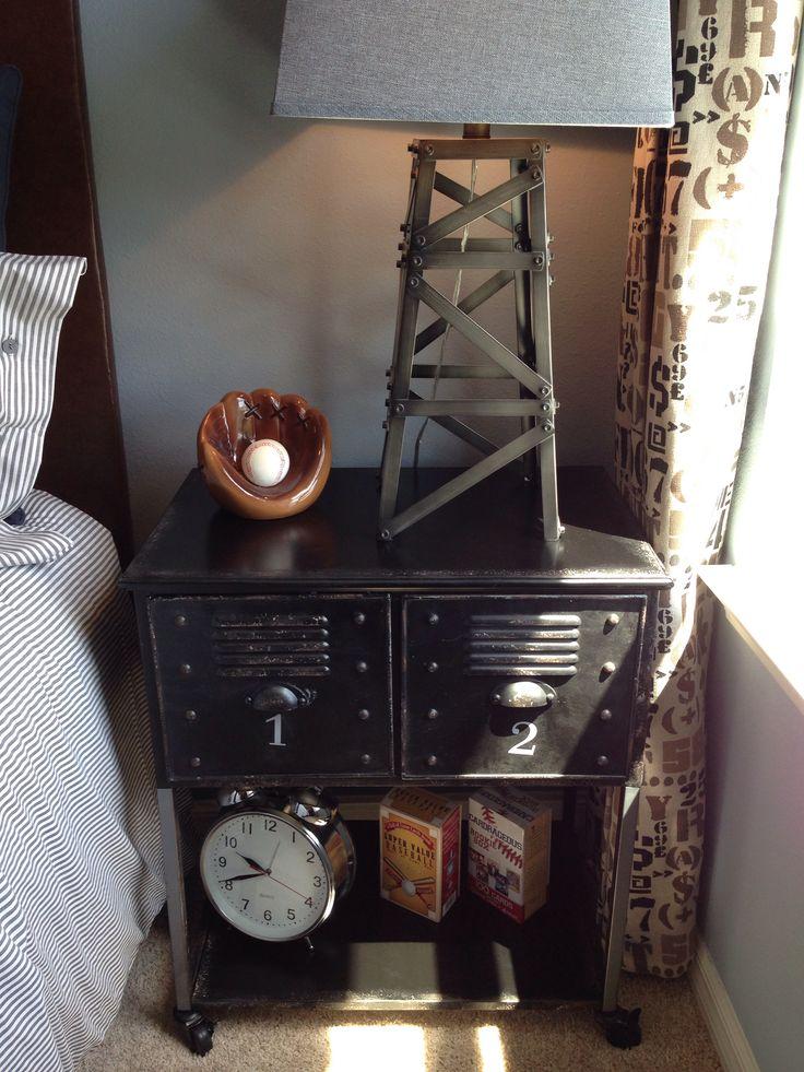 Baseball Locker Nightstand Bedroom Decor Boy Room Kids