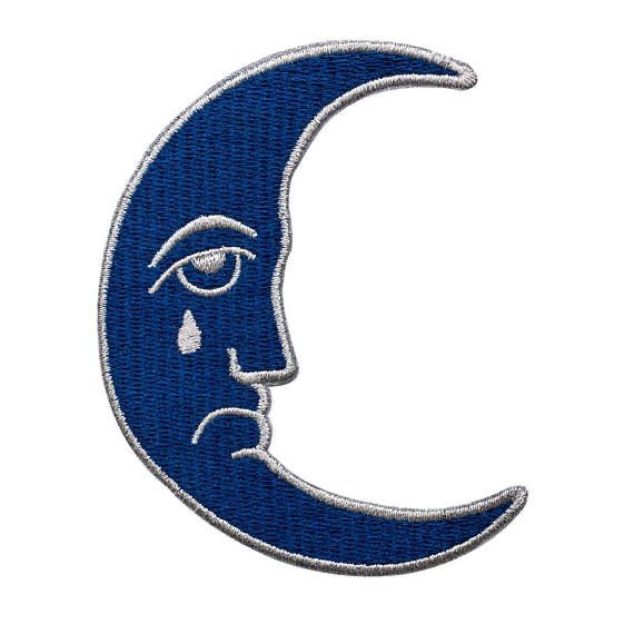 Crying Moon Badge Png Blue Moon Blue Aesthetic Blue