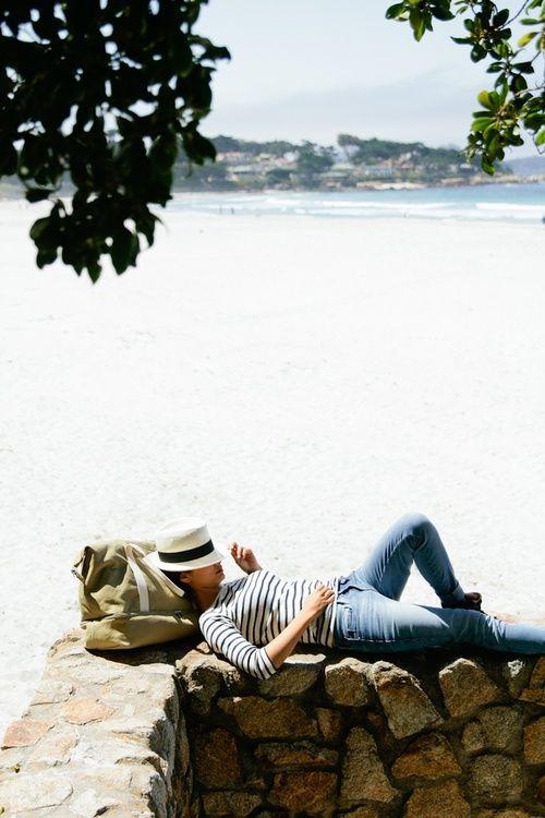 panama hat, striped tee & jeans #style #fashion #stripes