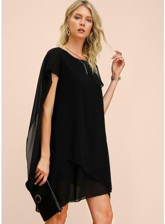 VERYVOGA Solid Short Sleeves Shift Knee Length Little Black/Party/Elegant Dresses 3
