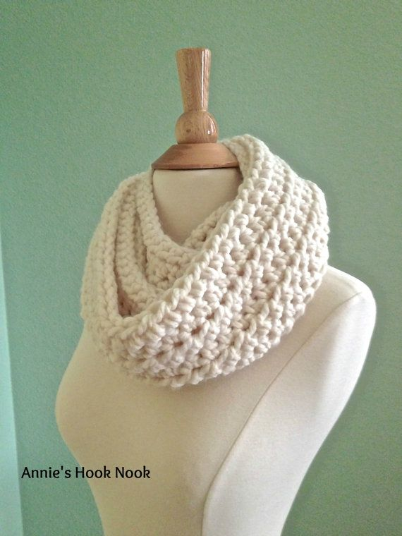 FREE SHIPPING Chunky Crochet Cowl Scarf Cream by AnniesHookNook