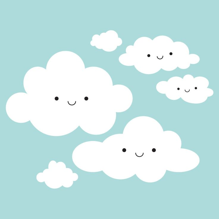 Happy Clouds Wall Decal: Cloud Appliqué for Kids by graphicspaces