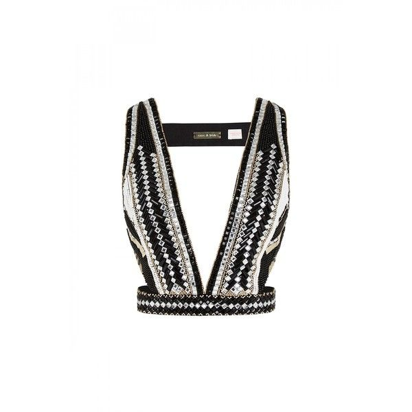sass & bide Tell Me More Embellished Harness (755 CAD) ❤ liked on Polyvore featuring tops, crop top, white singlet, beaded tank top, crop tank top and white top