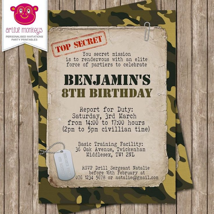 free printable camouflage birthday party invitations%0A Personalised Camo Army Top Secret Mission Invitation  DIY Printable or  Printed for You