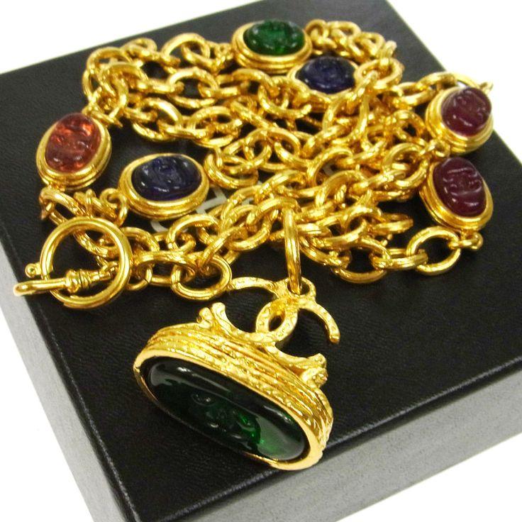 Authentic CHANEL Vintage CC Logos Stone Gold Chain Necklace France S04890 #Chanel #Pendant