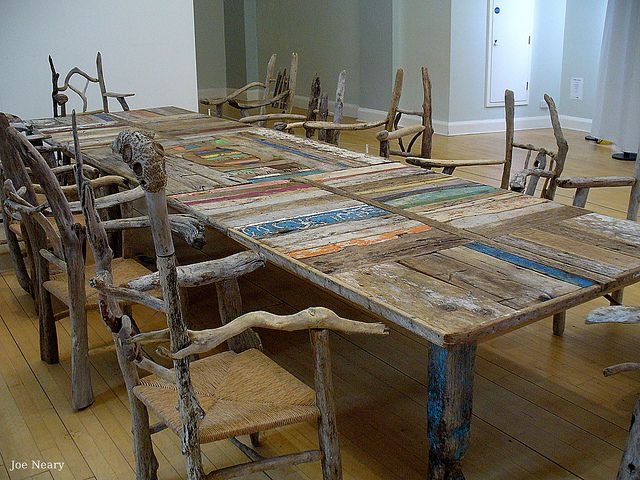 """A table from the sea`s edge"" by Silas Birtwhistle in Liverpool`s museum, Dining furniture made from driftwood"
