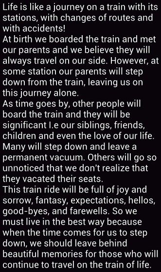 Life Is Like a Train Journey