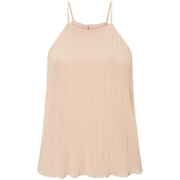 Miss Selfridge Petite Cami Top, Pink ($32) ❤ liked on Polyvore featuring tops, petite, pink camisole, pink cami, polyester camisole, petite tops and pink halter top