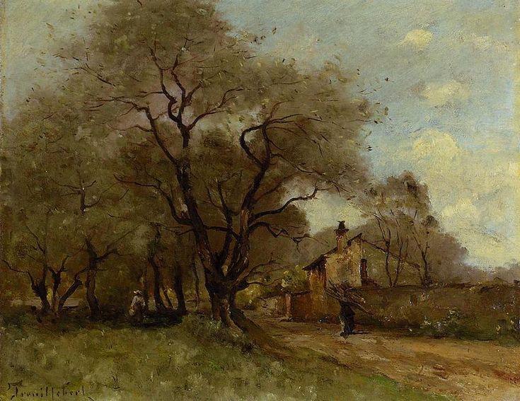 Route sur le bord d un village, huile sur toile de Paul Désiré Trouillebert (1829-1900, France)