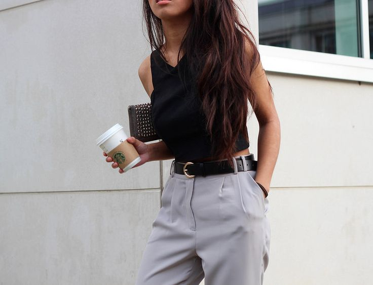 MISSGUIDED: HIGH WAISTED GREY TROUSERS