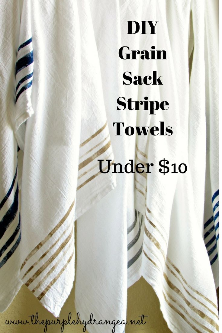 DIY Grain Sack Stripe Towels Under Ten Dollars