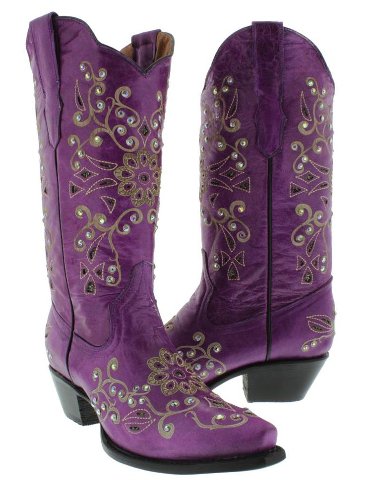 Womens Cowboy Boots Ladies Leather Rhinestone Crystal  New 2013 | eBay