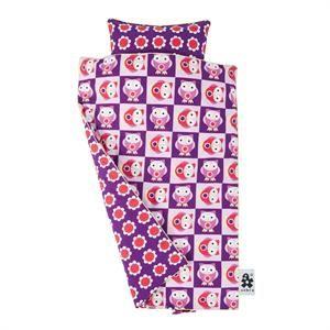 Ugle sengetøj med blomster i bomuld fra Sebra pink og lilla