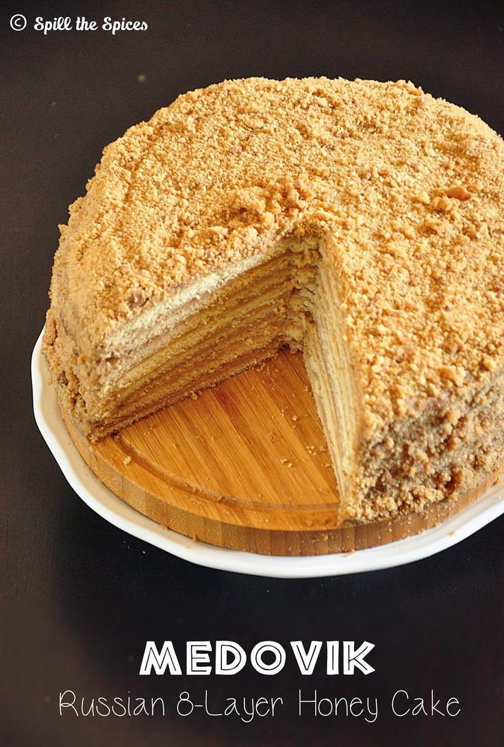 medovik - russian 8-layer honey cake with creamy caramel filling