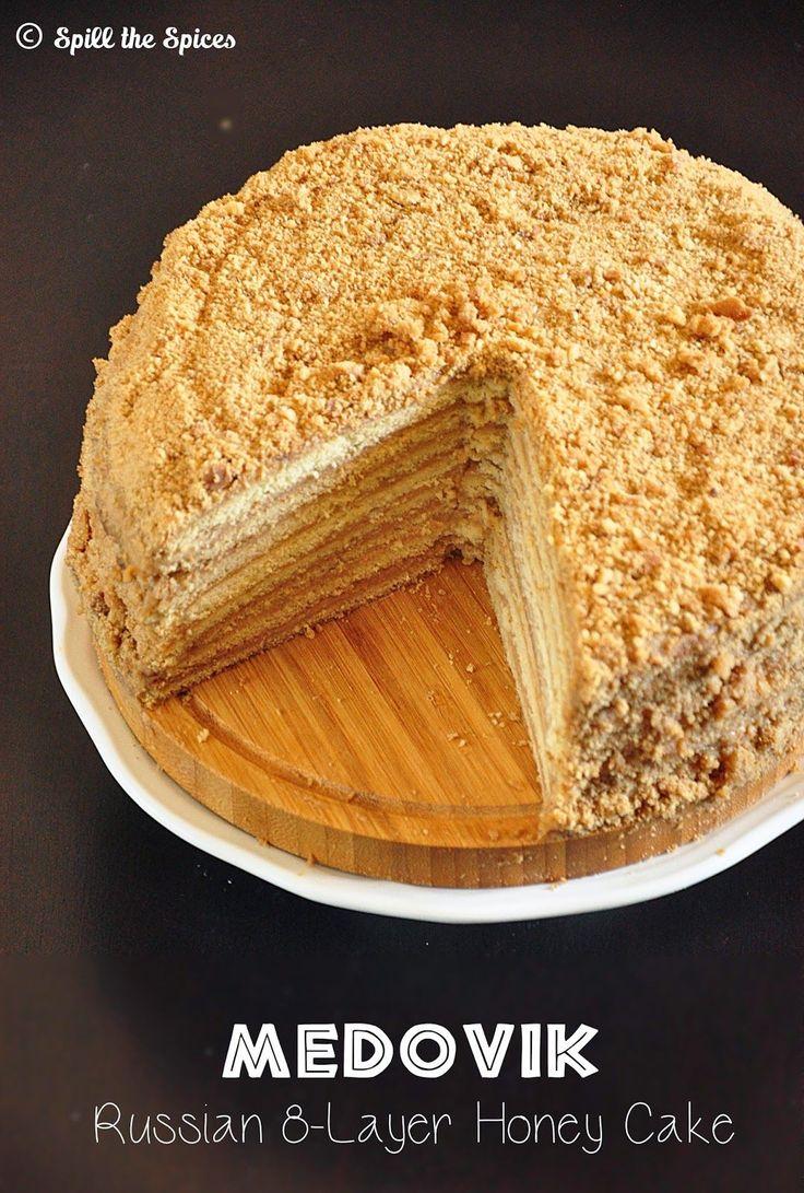 medovik - russian 8-layer honey cake with creamy caramel filling