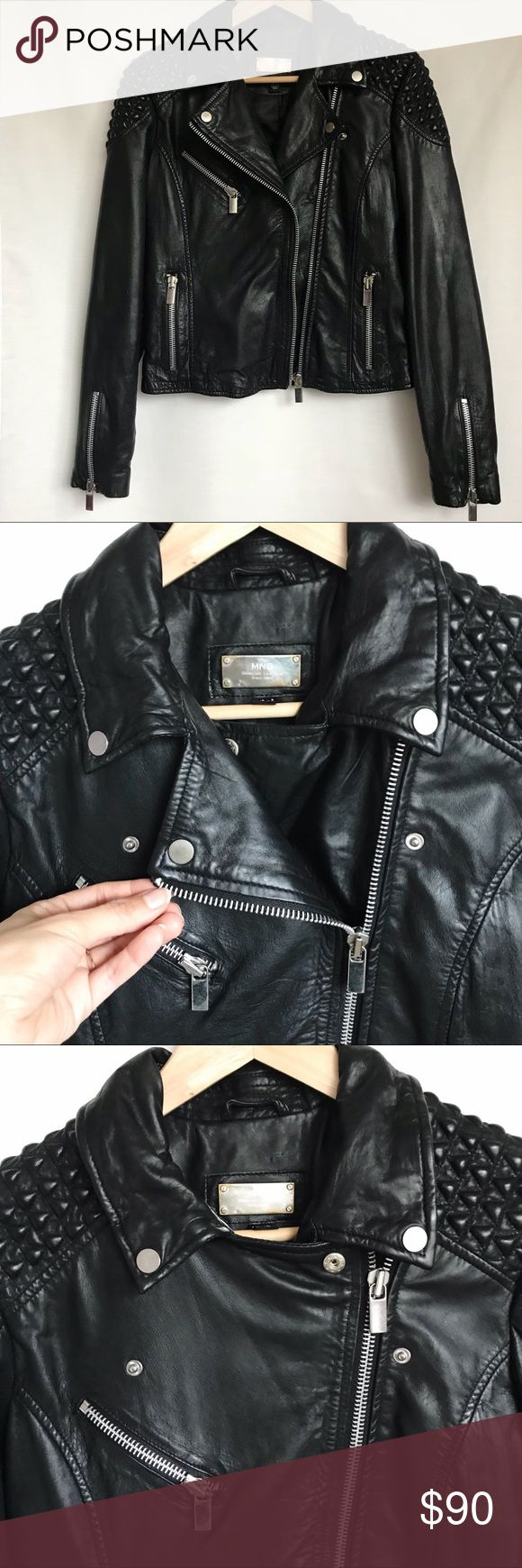 Mango Leather Jacket A Flawless Leather Biker Jacket! Brand: Mango Details: Genuine Leather, Zipper Details on Sleeve, Zipper Pockets, Textured Shoulders, Fully Lined, Leather Treated, Size X-Small.  Condition: Only Been Worn Once. Mango Jackets & Coats