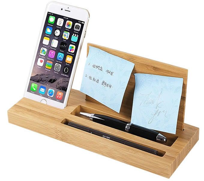 Bamboo Wood Office Desk Organizer Mobile Phone Stand Desk Organization Office Desk Phone Holder Desk Organization